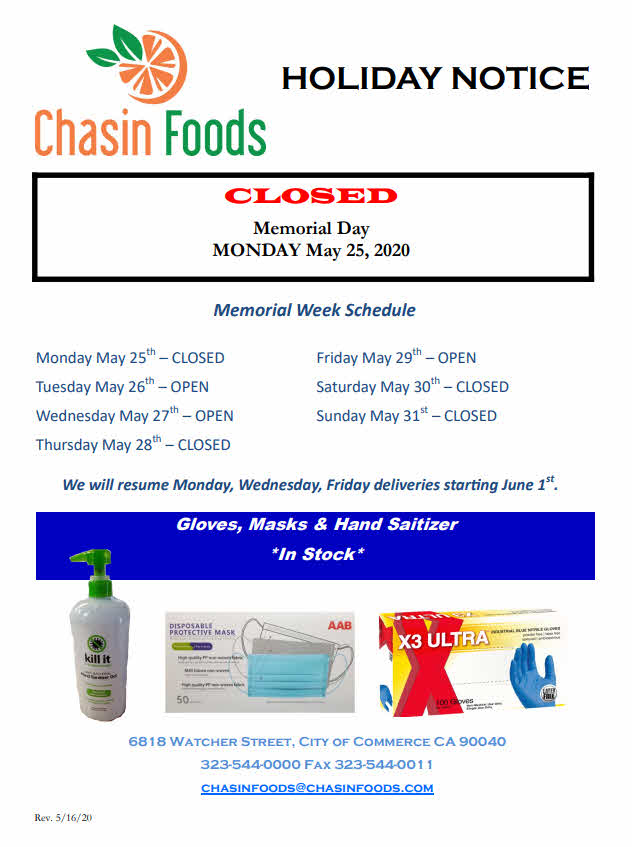 Memorial Day - Holiday Notice